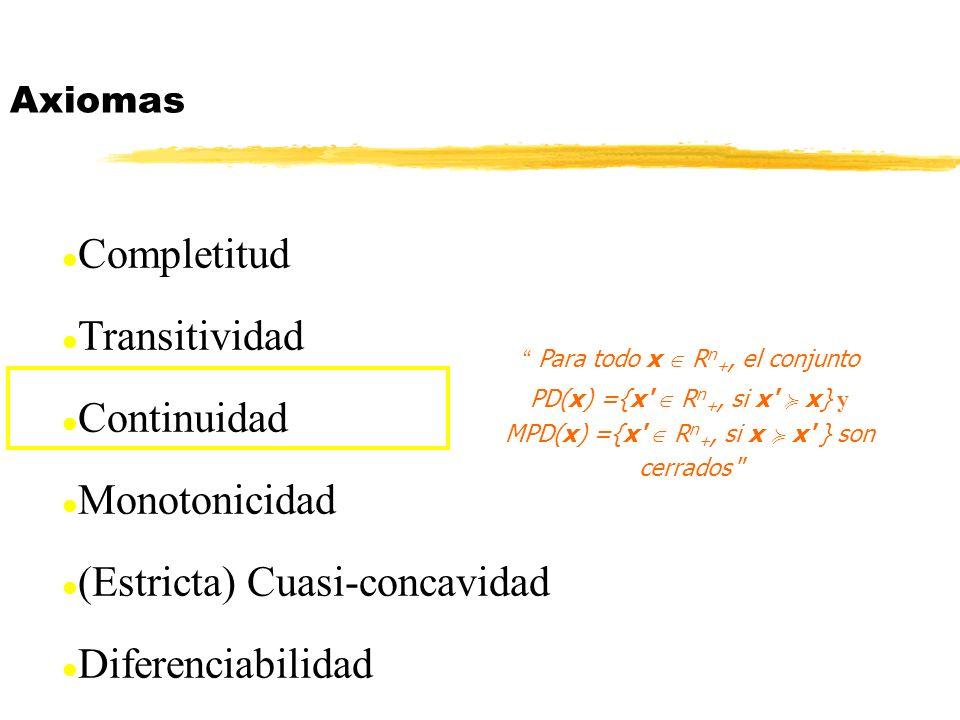 l Completitud l Transitividad l Continuidad l Monotonicidad l (Estricta) Cuasi-concavidad l Diferenciabilidad Axiomas Para todo x R n +, el conjunto P