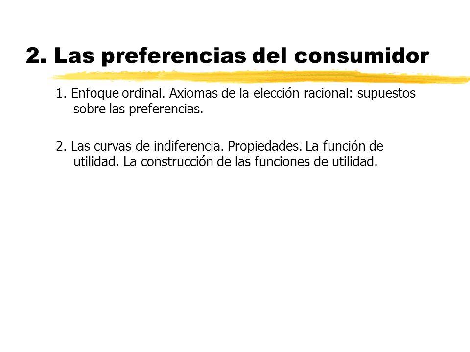 2. Las preferencias del consumidor 1. Enfoque ordinal. Axiomas de la elección racional: supuestos sobre las preferencias. 2. Las curvas de indiferenci