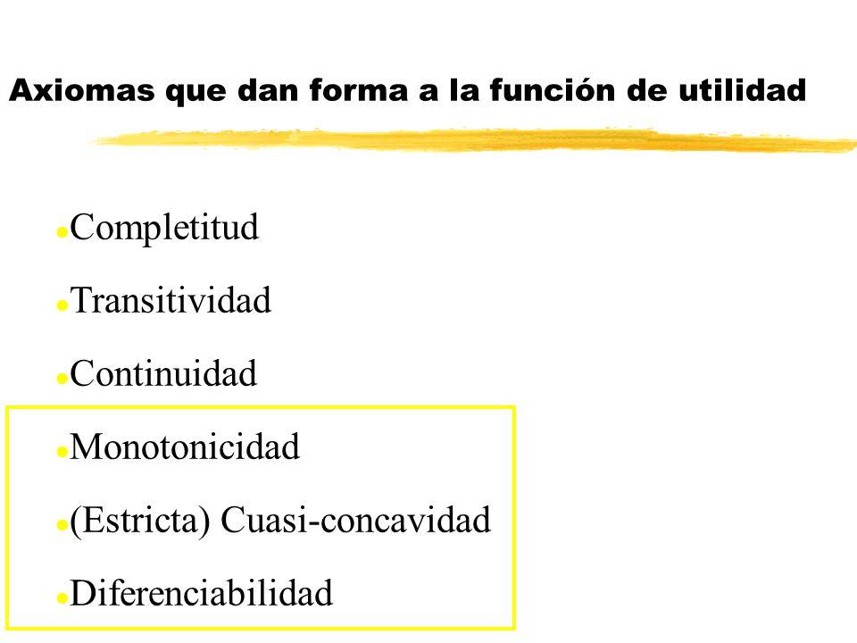l Completitud l Transitividad l Continuidad l Monotonicidad l (Estricta) Cuasi-concavidad l Diferenciabilidad Axiomas que dan forma a la función de ut