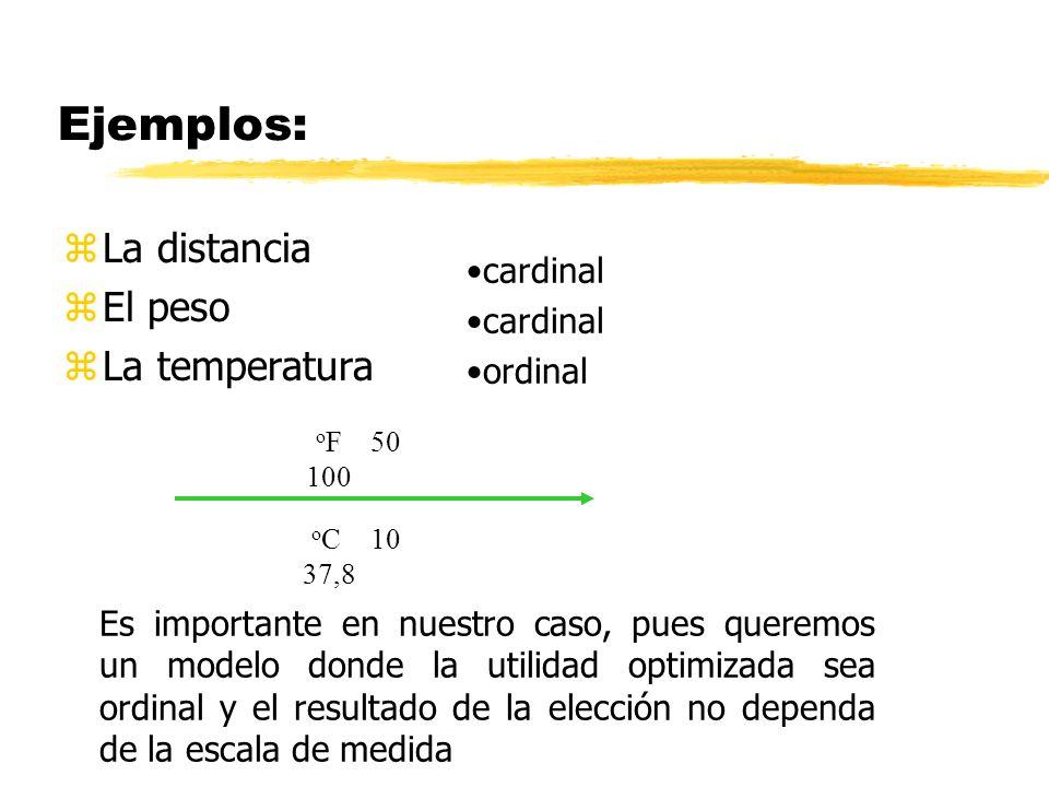 Ejemplos: zLa distancia zEl peso zLa temperatura cardinal ordinal o F 50 100 o C 10 37,8 Es importante en nuestro caso, pues queremos un modelo donde