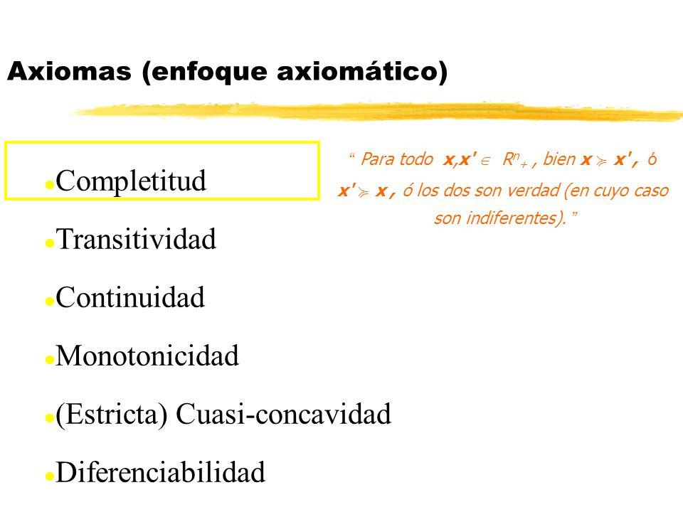 Funciones de utilidad EJERCICIOS: (4) Dada una función de utilidad U(x), cuáles son transformaciones monótonas V=2U-13, V=1/U 2, V=e U, V=U 2 si U>0, y V=U 2 si U<0.