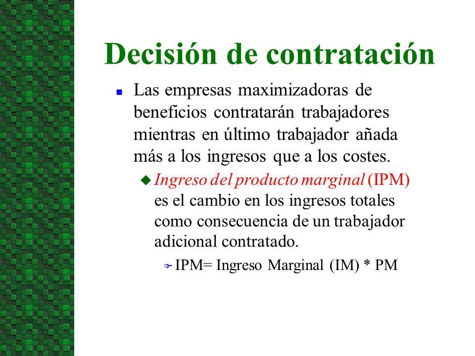 u Ingreso del producto marginal (IPM) es el cambio en los ingresos totales como consecuencia de un trabajador adicional contratado. F IPM= Ingreso Mar