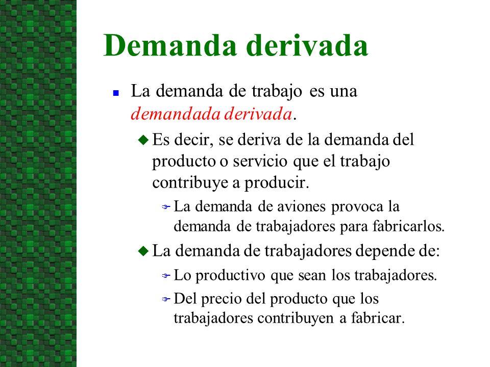 n La demanda de trabajo es una demandada derivada. u Es decir, se deriva de la demanda del producto o servicio que el trabajo contribuye a producir. F