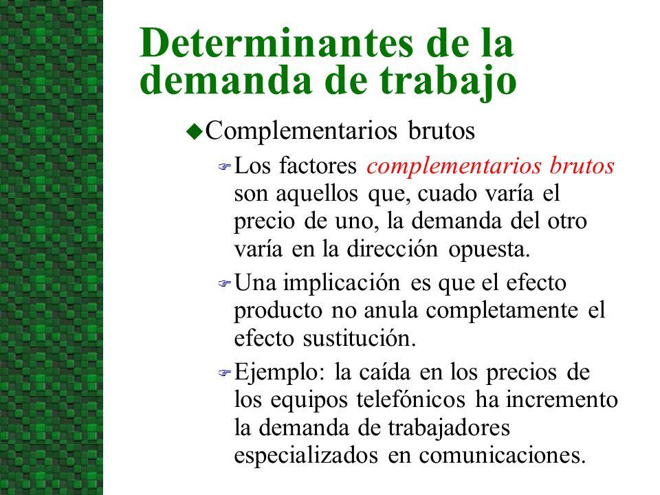 u Complementarios brutos F Los factores complementarios brutos son aquellos que, cuado varía el precio de uno, la demanda del otro varía en la direcci