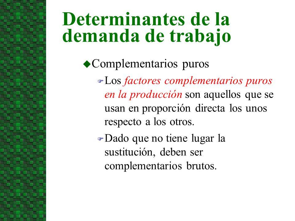 u Complementarios puros F Los factores complementarios puros en la producción son aquellos que se usan en proporción directa los unos respecto a los o