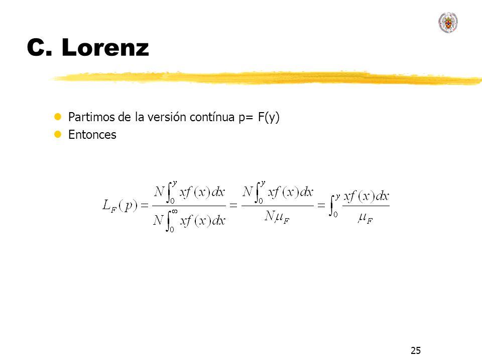 25 C. Lorenz lPartimos de la versión contínua p= F(y) lEntonces
