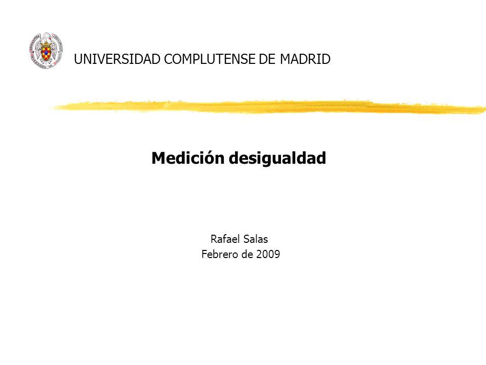 UNIVERSIDAD COMPLUTENSE DE MADRID Medición desigualdad Rafael Salas Febrero de 2009