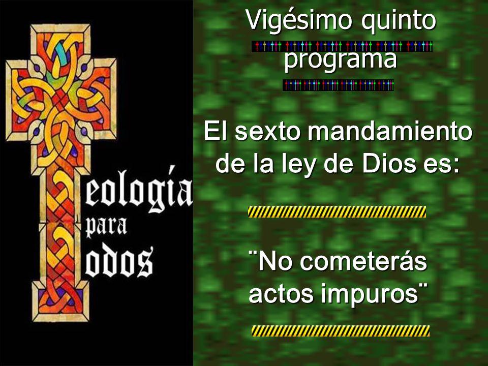 El sexto mandamiento de la ley de Dios es: ¨No cometerás actos impuros¨ Vigésimo quinto programa