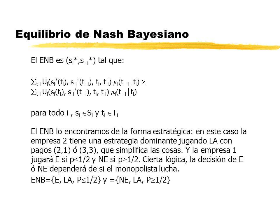 Equilibrio de Nash Bayesiano El ENB es (s i *,s -i *) tal que: t-i U i (s i * (t i ), s -i * (t -i ), t i, t -i ) i (t -i t i ) t-i U i (s i (t i ), s
