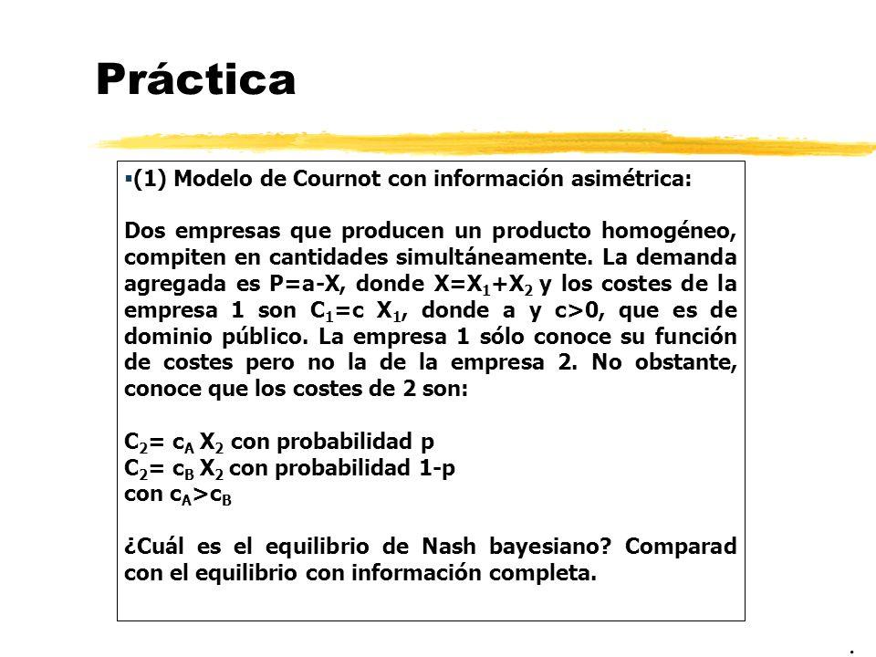 Práctica (1) Modelo de Cournot con información asimétrica: Dos empresas que producen un producto homogéneo, compiten en cantidades simultáneamente. La