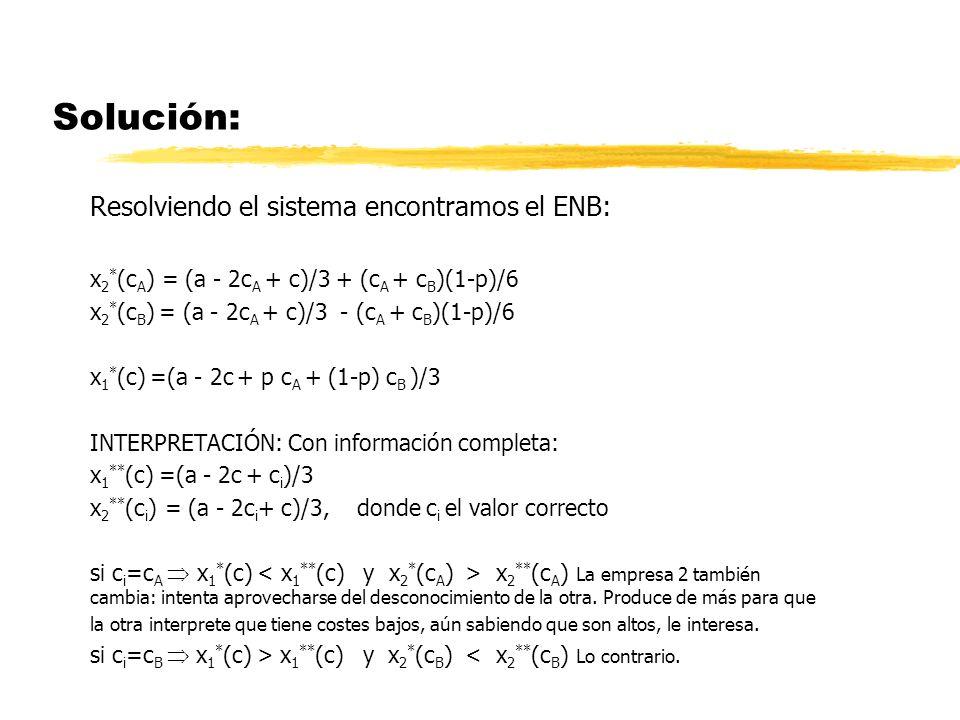 Solución: Resolviendo el sistema encontramos el ENB: x 2 * (c A ) = (a - 2c A + c)/3 + (c A + c B )(1-p)/6 x 2 * (c B ) = (a - 2c A + c)/3 - (c A + c