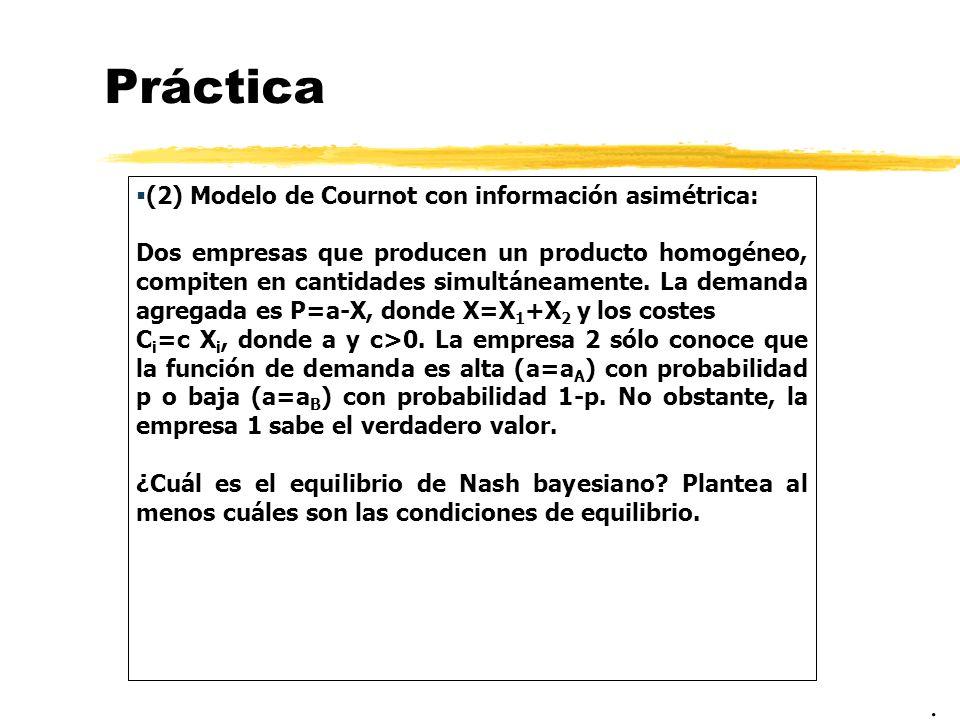 Práctica (2) Modelo de Cournot con información asimétrica: Dos empresas que producen un producto homogéneo, compiten en cantidades simultáneamente. La
