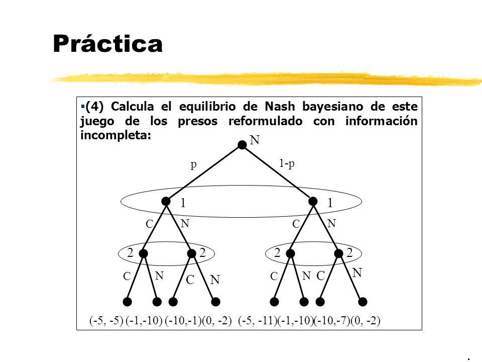 Práctica (4) Calcula el equilibrio de Nash bayesiano de este juego de los presos reformulado con información incompleta:. N p 1 C N 2 2 C N 1-p 1 C N