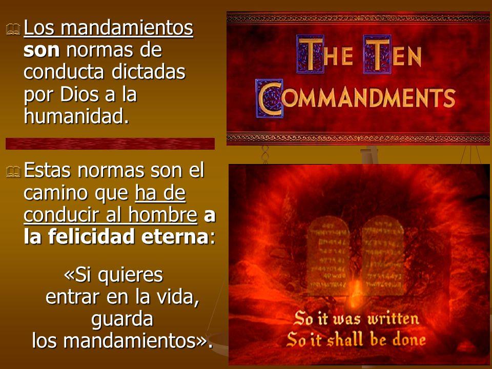 Los mandamientos son normas de conducta dictadas por Dios a la humanidad. Los mandamientos son normas de conducta dictadas por Dios a la humanidad. Es