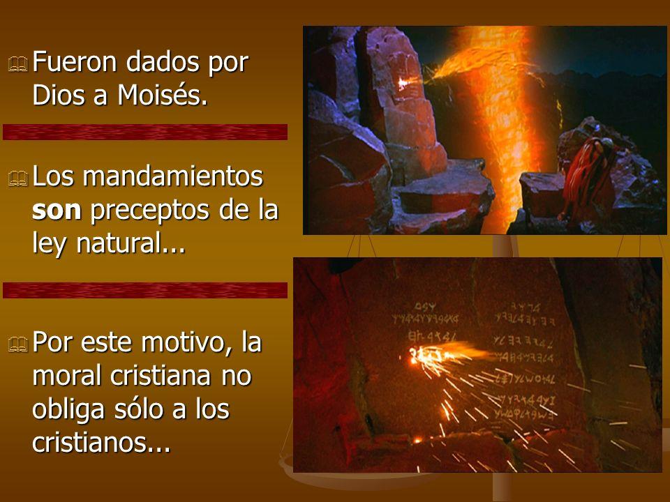 Fueron dados por Dios a Moisés. Fueron dados por Dios a Moisés. Los mandamientos son preceptos de la ley natural... Los mandamientos son preceptos de