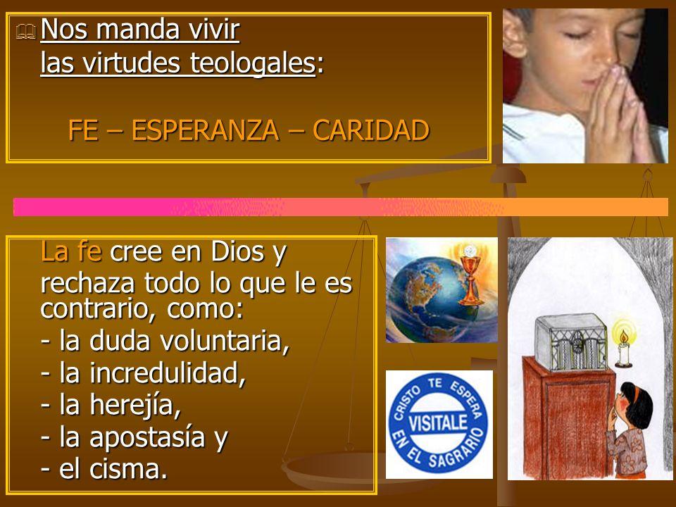 Nos manda vivir Nos manda vivir las virtudes teologales: FE – ESPERANZA – CARIDAD La fe cree en Dios y rechaza todo lo que le es contrario, como: - la