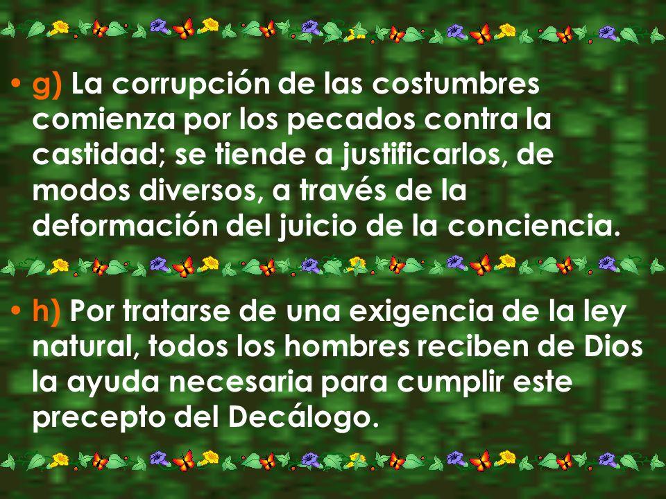 g) La corrupción de las costumbres comienza por los pecados contra la castidad; se tiende a justificarlos, de modos diversos, a través de la deformaci