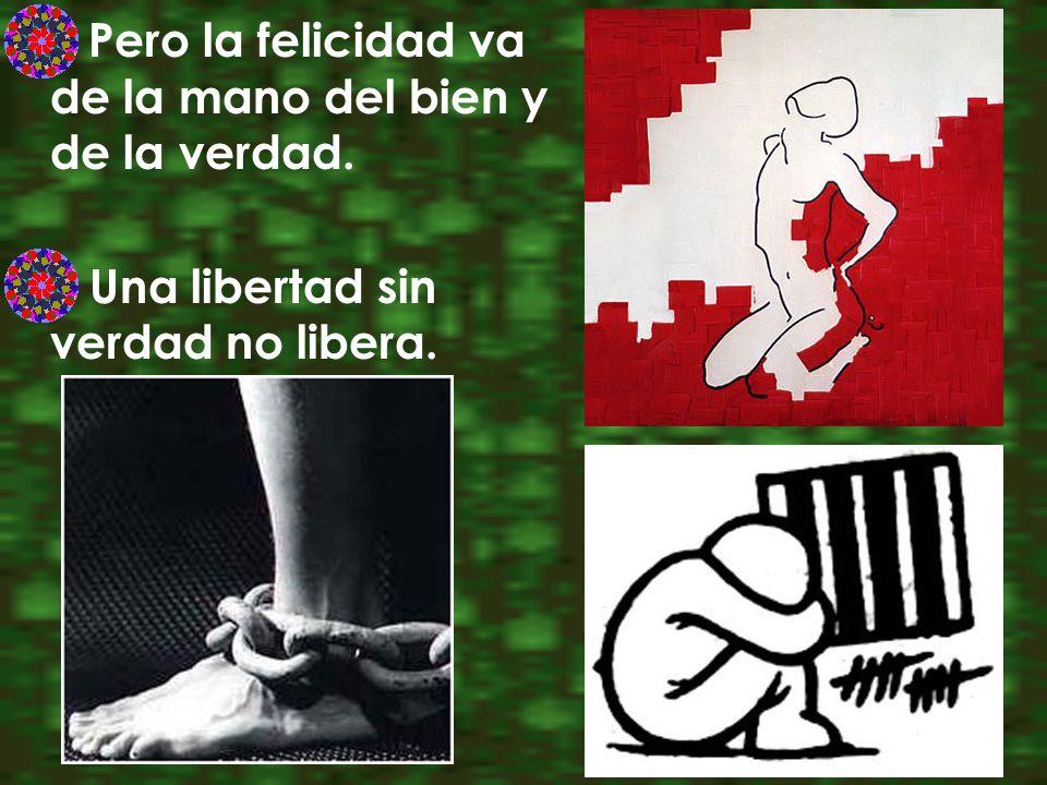 Pero la felicidad va de la mano del bien y de la verdad. Una libertad sin verdad no libera.