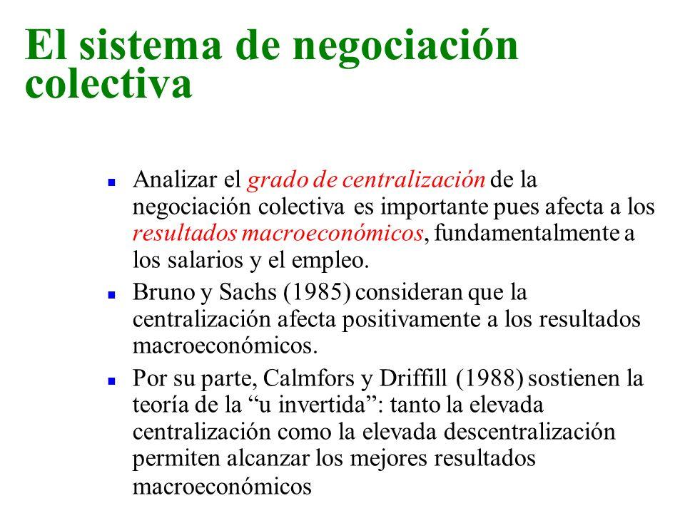 n Analizar el grado de centralización de la negociación colectiva es importante pues afecta a los resultados macroeconómicos, fundamentalmente a los s