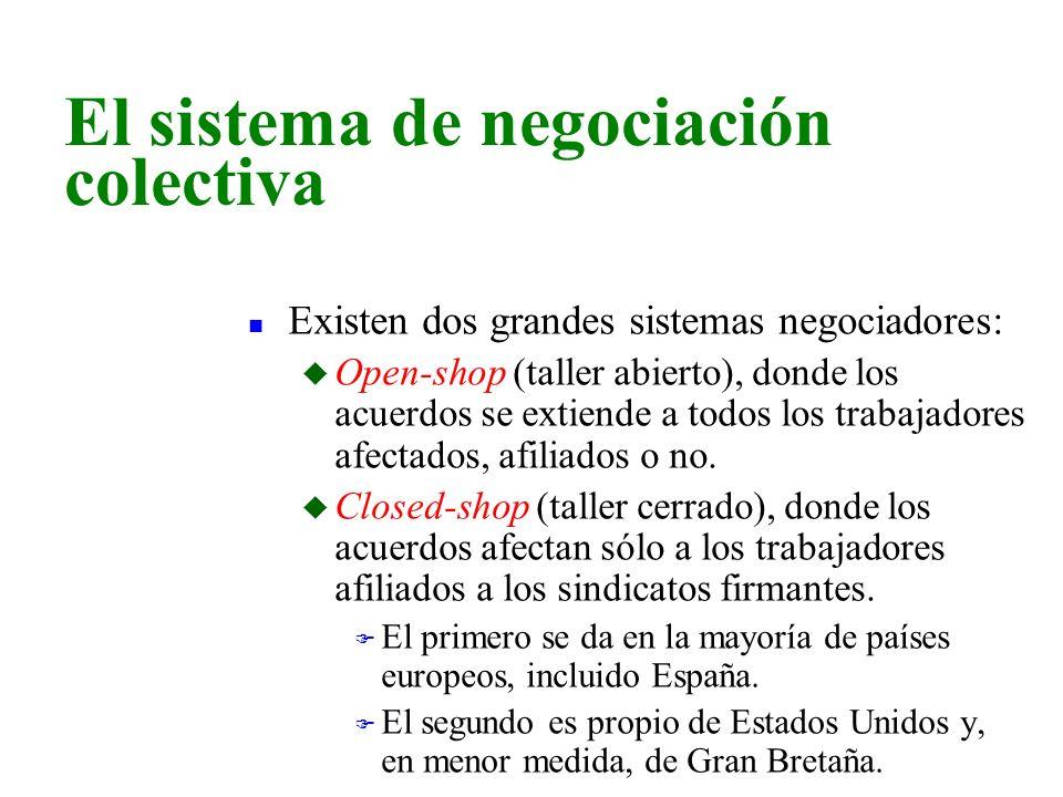 n Existen dos grandes sistemas negociadores: u Open-shop (taller abierto), donde los acuerdos se extiende a todos los trabajadores afectados, afiliado