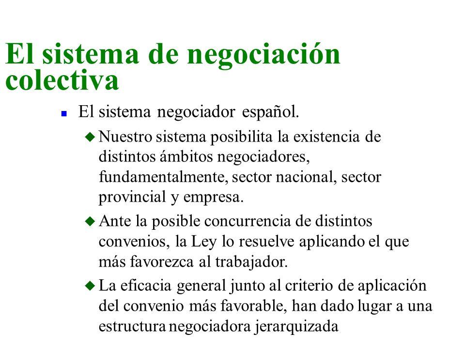n El sistema negociador español. u Nuestro sistema posibilita la existencia de distintos ámbitos negociadores, fundamentalmente, sector nacional, sect