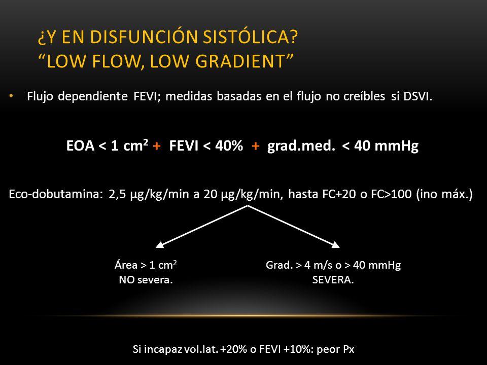 ¿Y EN DISFUNCIÓN SISTÓLICA? LOW FLOW, LOW GRADIENT Flujo dependiente FEVI; medidas basadas en el flujo no creíbles si DSVI. EOA < 1 cm 2 + FEVI < 40%