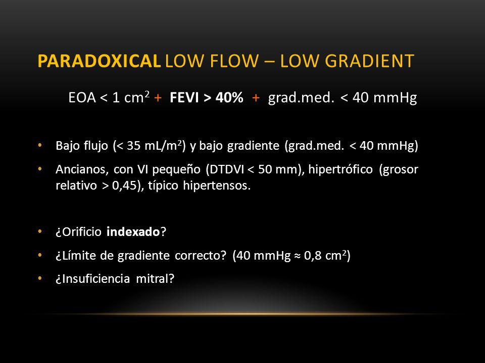 PARADOXICAL LOW FLOW – LOW GRADIENT EOA 40% + grad.med. < 40 mmHg Bajo flujo (< 35 mL/m 2 ) y bajo gradiente (grad.med. < 40 mmHg) Ancianos, con VI pe
