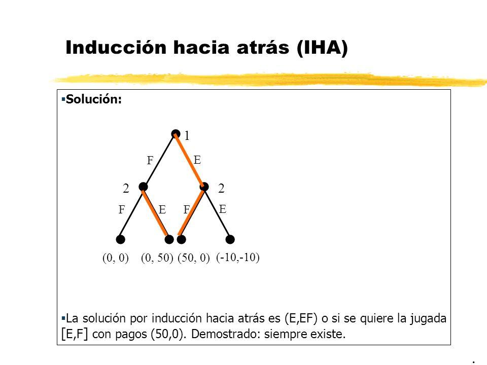 Inducción hacia atrás (IHA) Solución: La solución por inducción hacia atrás es (E,EF) o si se quiere la jugada [ E,F ] con pagos (50,0). Demostrado: s