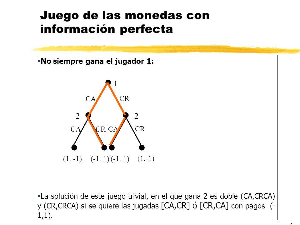 Juego de las monedas con información perfecta No siempre gana el jugador 1: La solución de este juego trivial, en el que gana 2 es doble (CA,CRCA) y (