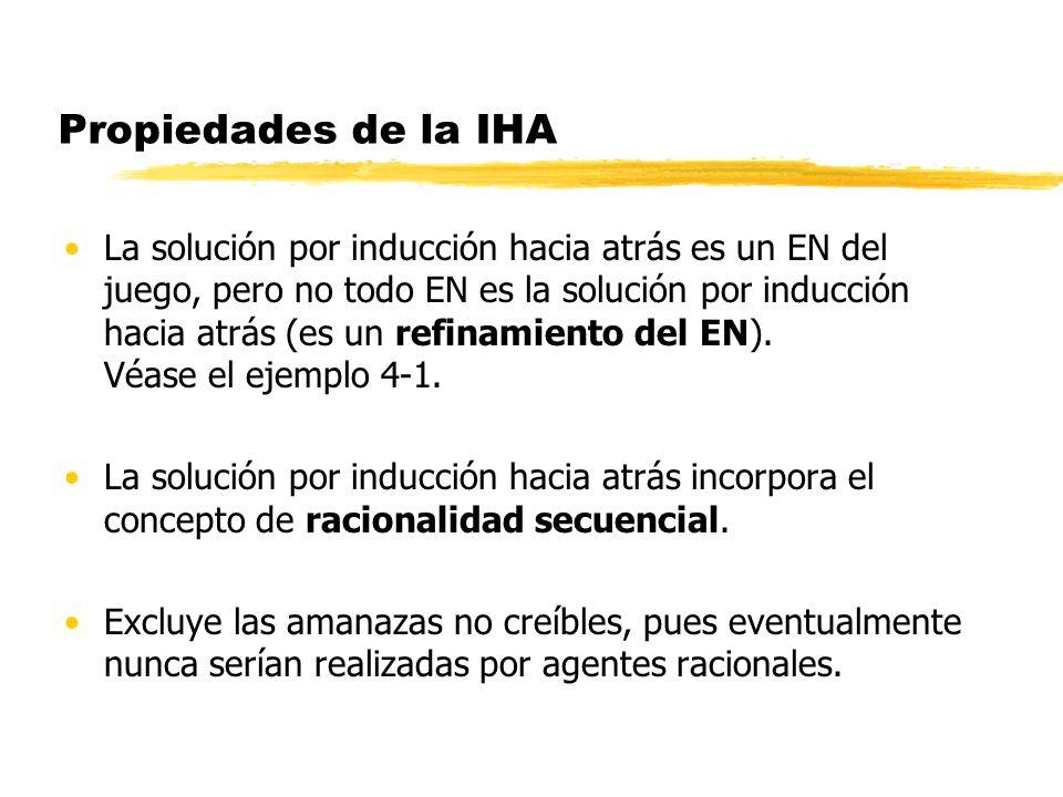 Propiedades de la IHA La solución por inducción hacia atrás es un EN del juego, pero no todo EN es la solución por inducción hacia atrás (es un refina