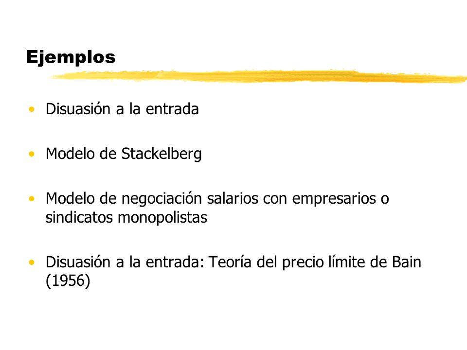 Ejemplos Disuasión a la entrada Modelo de Stackelberg Modelo de negociación salarios con empresarios o sindicatos monopolistas Disuasión a la entrada: