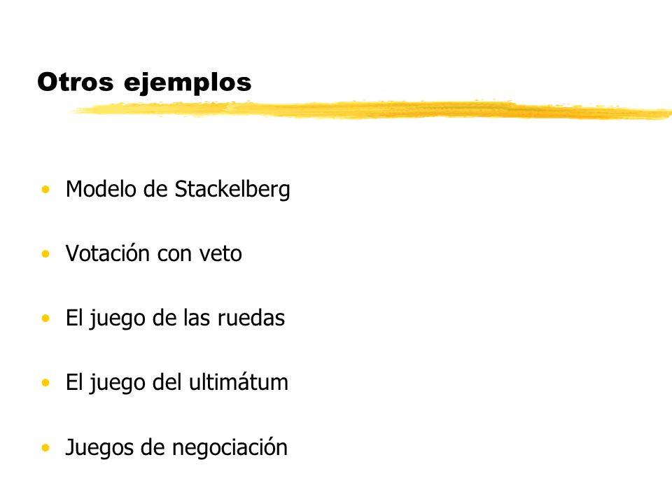 Otros ejemplos Modelo de Stackelberg Votación con veto El juego de las ruedas El juego del ultimátum Juegos de negociación
