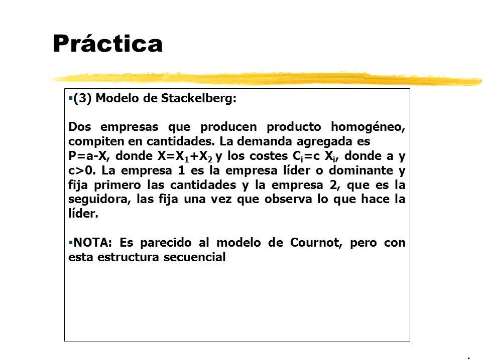 Práctica (3) Modelo de Stackelberg: Dos empresas que producen producto homogéneo, compiten en cantidades. La demanda agregada es P=a-X, donde X=X 1 +X