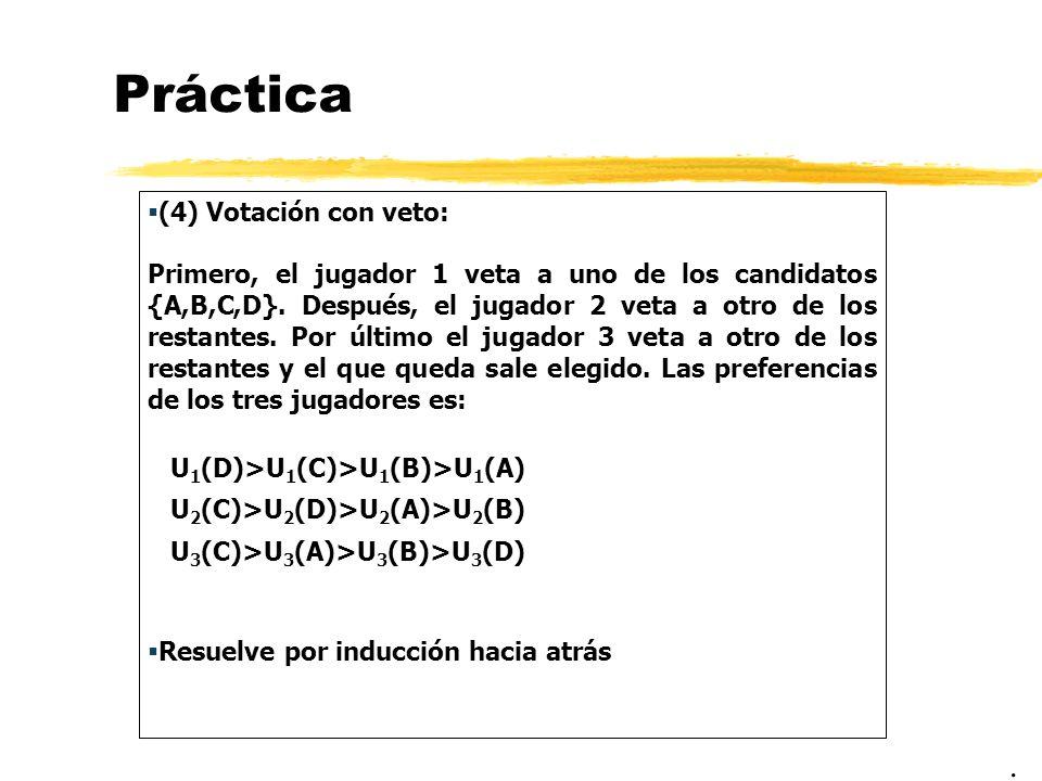 Práctica (4) Votación con veto: Primero, el jugador 1 veta a uno de los candidatos {A,B,C,D}. Después, el jugador 2 veta a otro de los restantes. Por