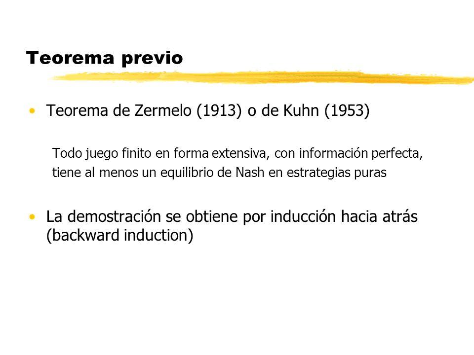Teorema previo Teorema de Zermelo (1913) o de Kuhn (1953) Todo juego finito en forma extensiva, con información perfecta, tiene al menos un equilibrio