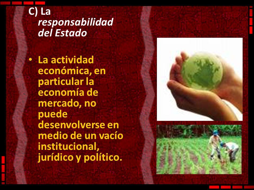 C) La responsabilidad del Estado La actividad económica, en particular la economía de mercado, no puede desenvolverse en medio de un vacío institucion