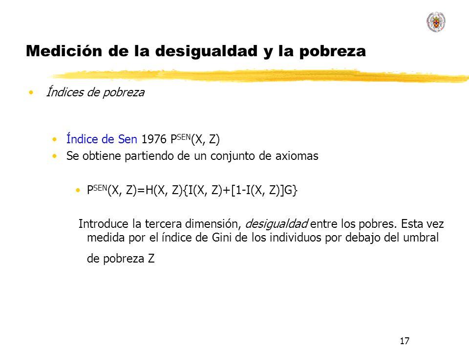 17 Medición de la desigualdad y la pobreza Índices de pobreza Índice de Sen 1976 P SEN (X, Z) Se obtiene partiendo de un conjunto de axiomas P SEN (X, Z)=H(X, Z){I(X, Z)+[1-I(X, Z)]G} Introduce la tercera dimensión, desigualdad entre los pobres.
