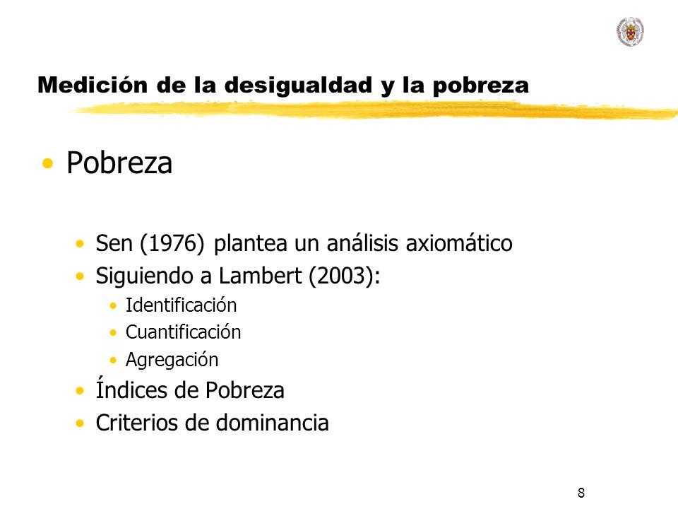 8 Medición de la desigualdad y la pobreza Pobreza Sen (1976) plantea un análisis axiomático Siguiendo a Lambert (2003): Identificación Cuantificación Agregación Índices de Pobreza Criterios de dominancia