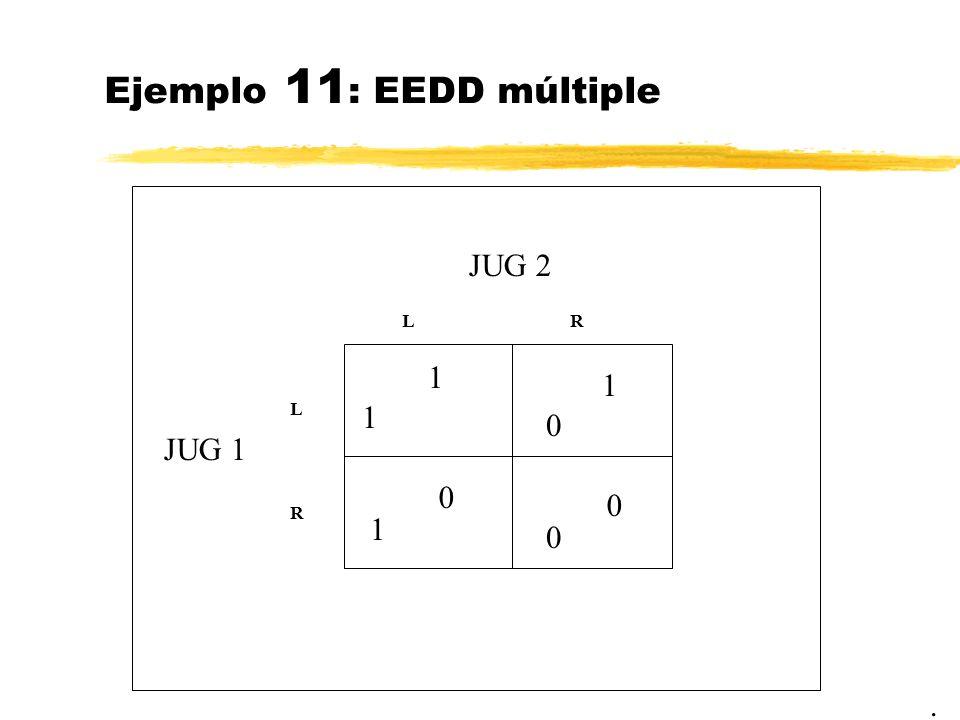 Ejemplo 11 : EEDD múltiple. JUG 2 JUG 1 1 LR L R 0 0 1 1 1 0 0