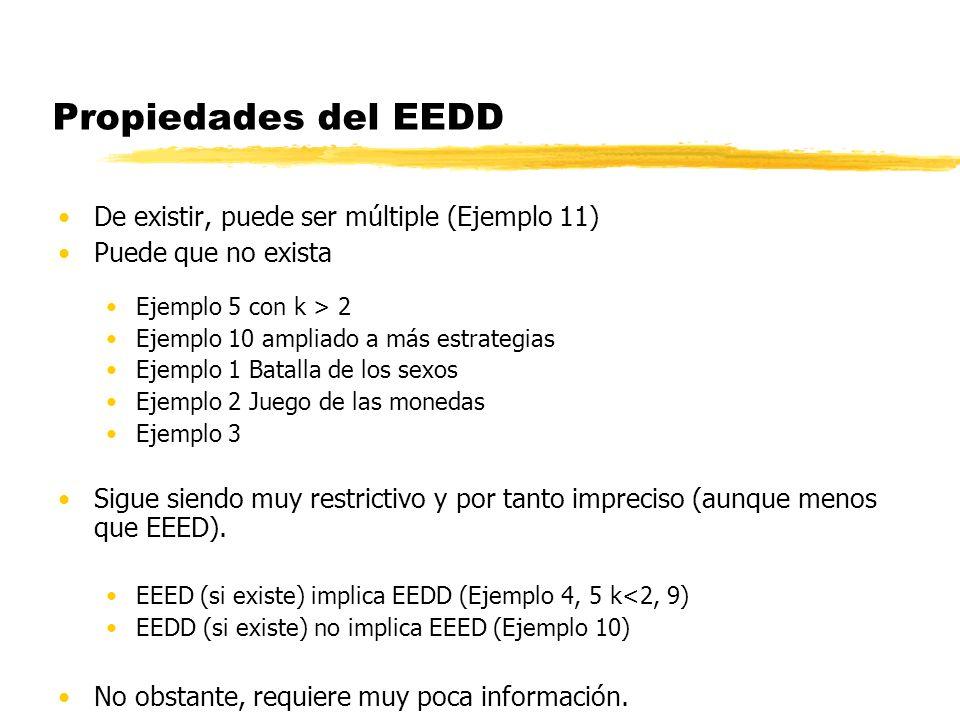 Propiedades del EEDD De existir, puede ser múltiple (Ejemplo 11) Puede que no exista Ejemplo 5 con k > 2 Ejemplo 10 ampliado a más estrategias Ejemplo