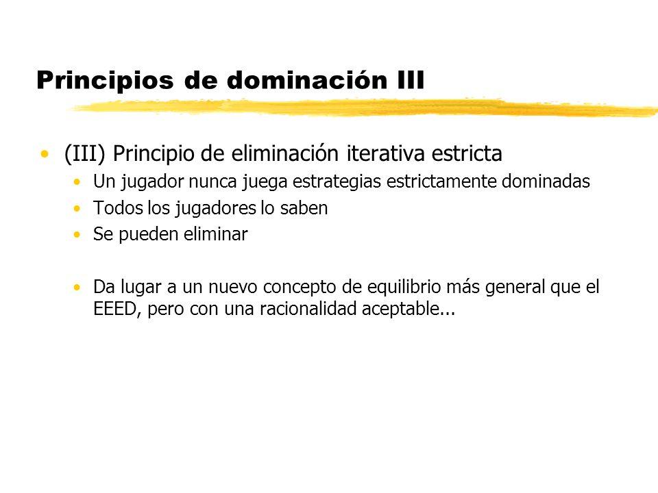 Principios de dominación III (III) Principio de eliminación iterativa estricta Un jugador nunca juega estrategias estrictamente dominadas Todos los ju