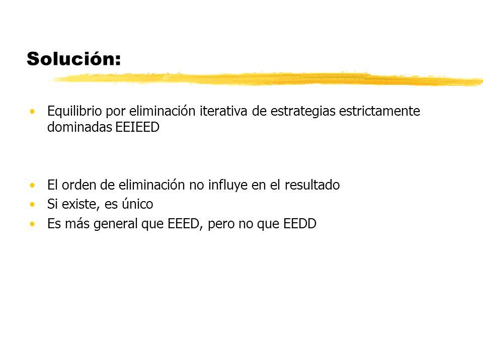 Solución: Equilibrio por eliminación iterativa de estrategias estrictamente dominadas EEIEED El orden de eliminación no influye en el resultado Si exi