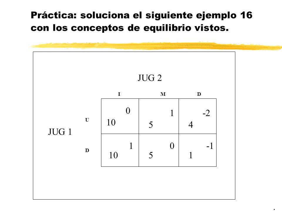 Práctica: soluciona el siguiente ejemplo 16 con los conceptos de equilibrio vistos.. JUG 2 JUG 1 10 IM U D 5 5 0 1 10 D 4 -2 1
