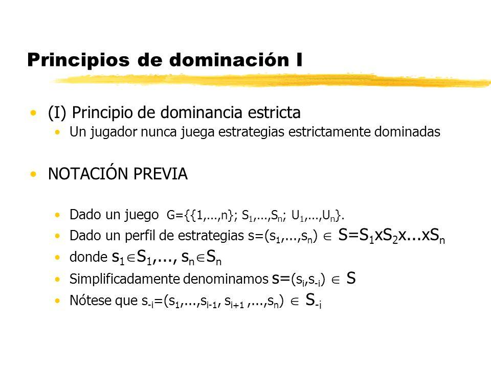 Principios de dominación I (I) Principio de dominancia estricta Un jugador nunca juega estrategias estrictamente dominadas NOTACIÓN PREVIA Dado un jue