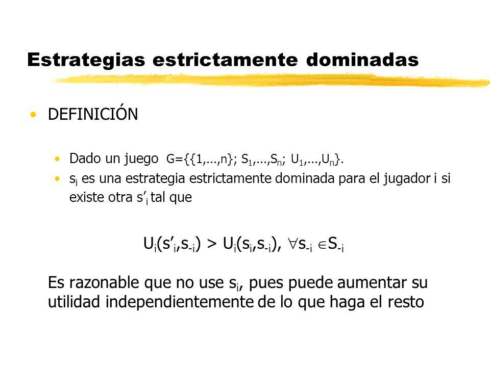 Estrategias estrictamente dominadas DEFINICIÓN Dado un juego G={{1,...,n}; S 1,...,S n ; U 1,...,U n }. s i es una estrategia estrictamente dominada p