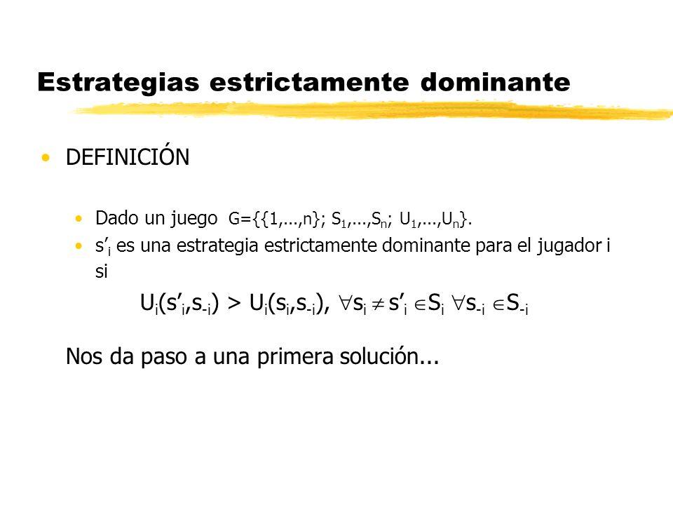 Estrategias estrictamente dominante DEFINICIÓN Dado un juego G={{1,...,n}; S 1,...,S n ; U 1,...,U n }. s i es una estrategia estrictamente dominante