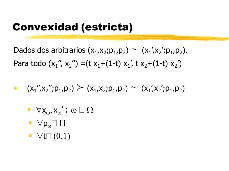 Convexidad (estricta) p x x : Dados dos arbitrarios (x 1,x 2 ;p 1,p 2 ) (x 1,x 2 ;p 1,p 2 ). Para todo (x 1, x 2 ) =(t x 1 +(1-t) x 1, t x 2 +(1-t) x