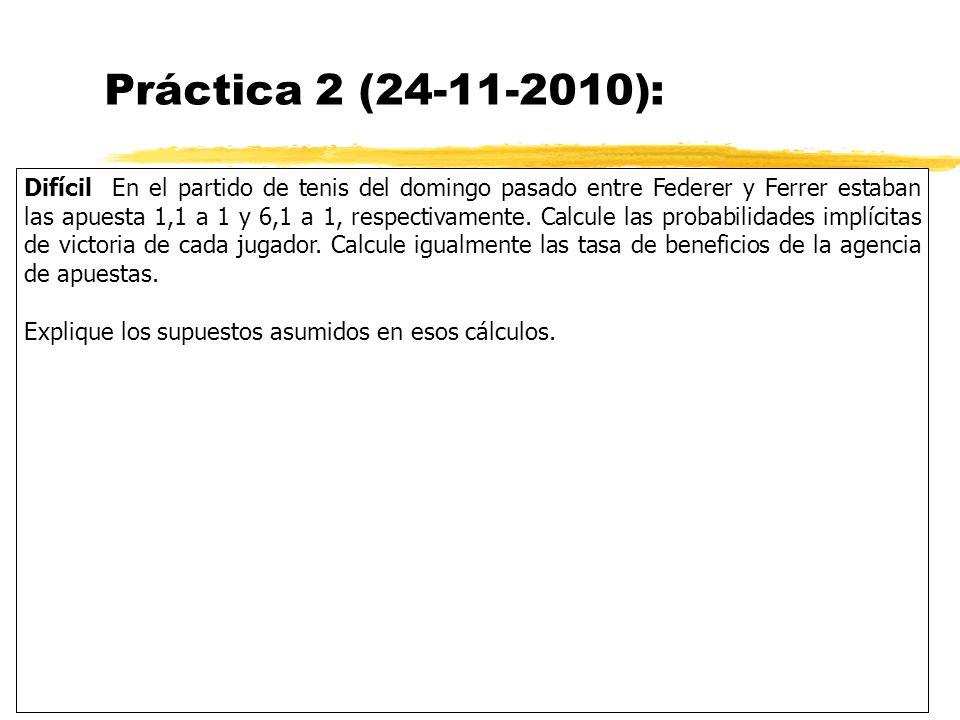 Práctica 2 (24-11-2010): Difícil En el partido de tenis del domingo pasado entre Federer y Ferrer estaban las apuesta 1,1 a 1 y 6,1 a 1, respectivamen