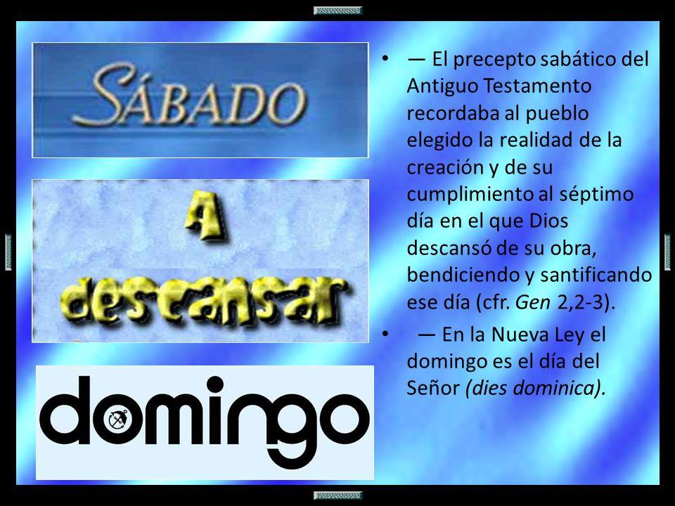 El precepto sabático del Antiguo Testamento recordaba al pueblo elegido la realidad de la creación y de su cumplimiento al séptimo día en el que Dios