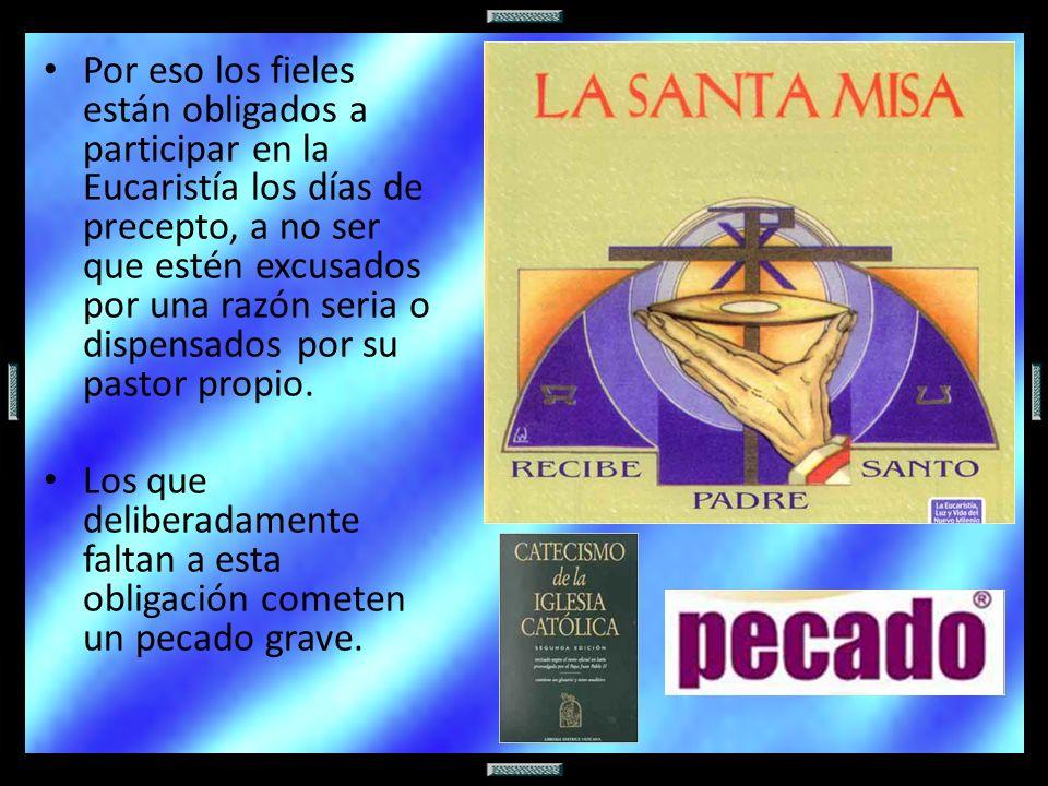 Por eso los fieles están obligados a participar en la Eucaristía los días de precepto, a no ser que estén excusados por una razón seria o dispensados
